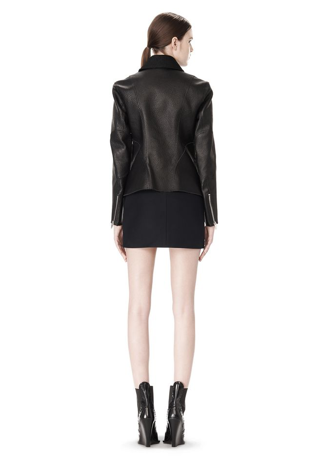 ALEXANDER WANG EXCLUSIVE LEATHER BIKER JACKET WITH RAW EDGE FINISH Jacket Adult 12_n_r