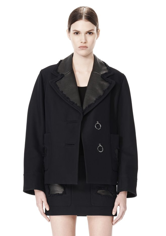 ALEXANDER WANG PEACOAT WITH DISTRESSED DETAIL JACKETS AND OUTERWEAR  Adult 12_n_d