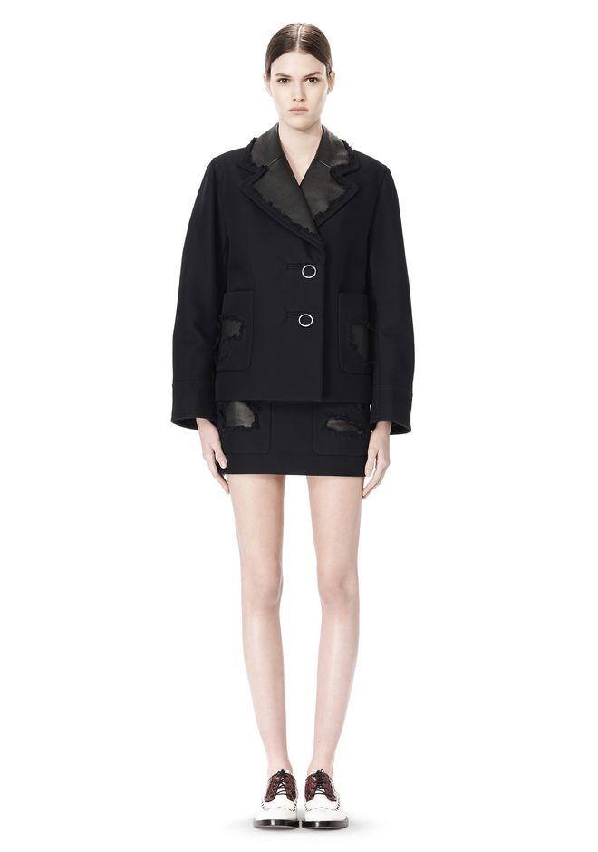 ALEXANDER WANG PEACOAT WITH DISTRESSED DETAIL JACKETS AND OUTERWEAR  Adult 12_n_f