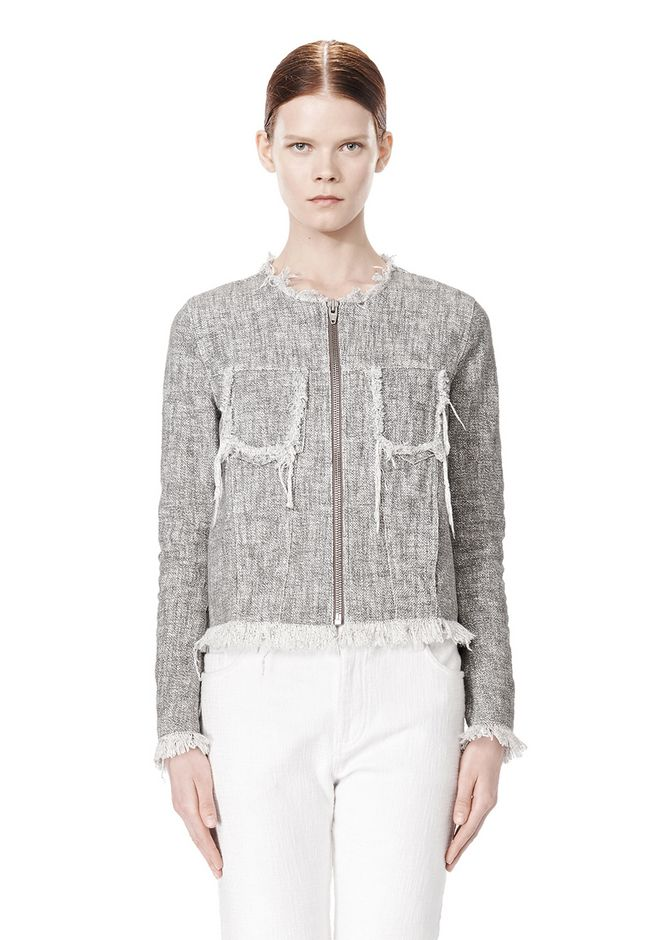 T by ALEXANDER WANG COTTON BURLAP ZIP UP JACKET  JACKETS AND OUTERWEAR  Adult 12_n_d