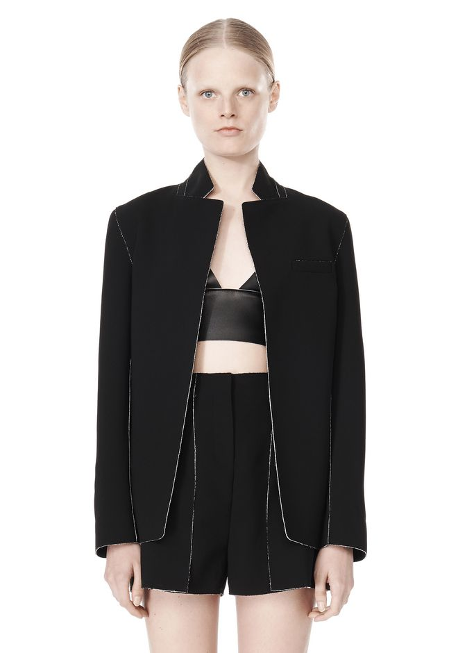 T by ALEXANDER WANG DOUBLE FACE BONDED COLLAR BLAZER JACKETS AND OUTERWEAR  Adult 12_n_d