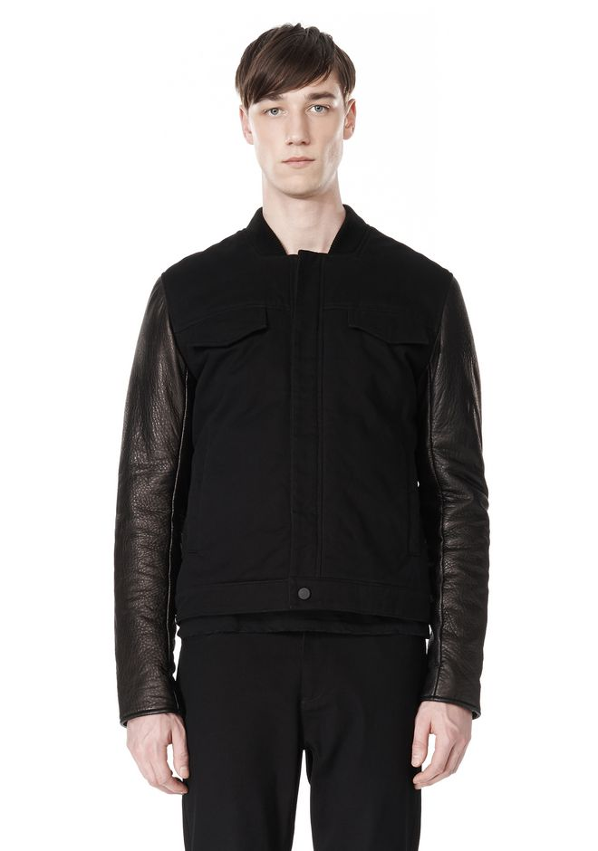 T by ALEXANDER WANG COTTON CANVAS TWILL JACKET WITH LEATHER SLEEVES Jacket Adult 12_n_e