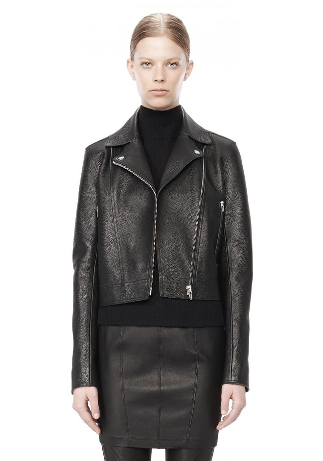 T by ALEXANDER WANG PEBBLED LEATHER MOTORCYCLE JACKET Jacket Adult 12_n_d