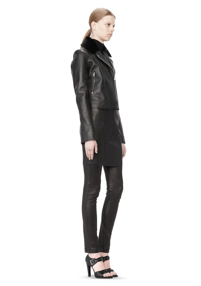 T by ALEXANDER WANG PEBBLED LEATHER MOTORCYCLE JACKET Jacket Adult 12_n_e