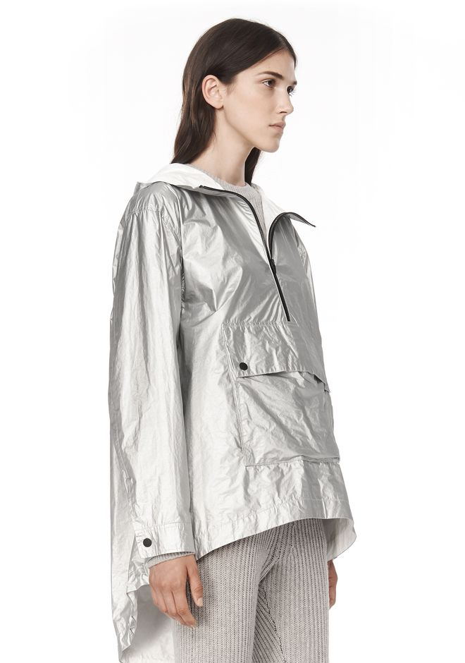 T by ALEXANDER WANG LAMINATED HOODED ANORAK JACKETS AND OUTERWEAR  Adult 12_n_a