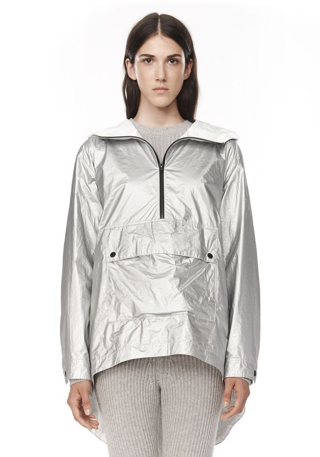 T by ALEXANDER WANG LAMINATED HOODED ANORAK JACKETS AND OUTERWEAR  Adult 12_n_e