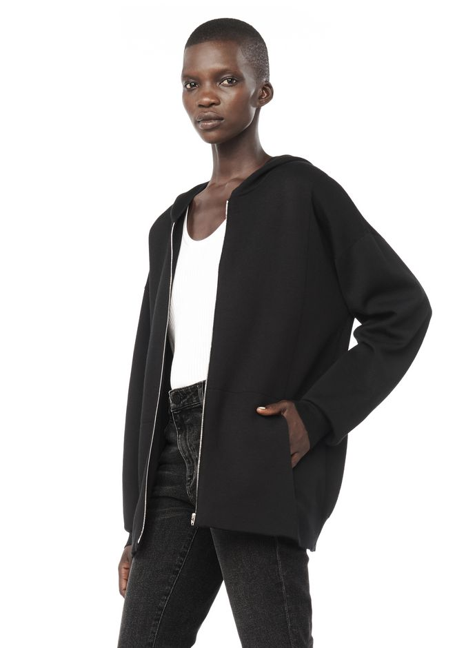 ALEXANDER WANG ZIP HOODIE WITH SEAMLESS POCKET JACKETS AND OUTERWEAR  Adult 12_n_a