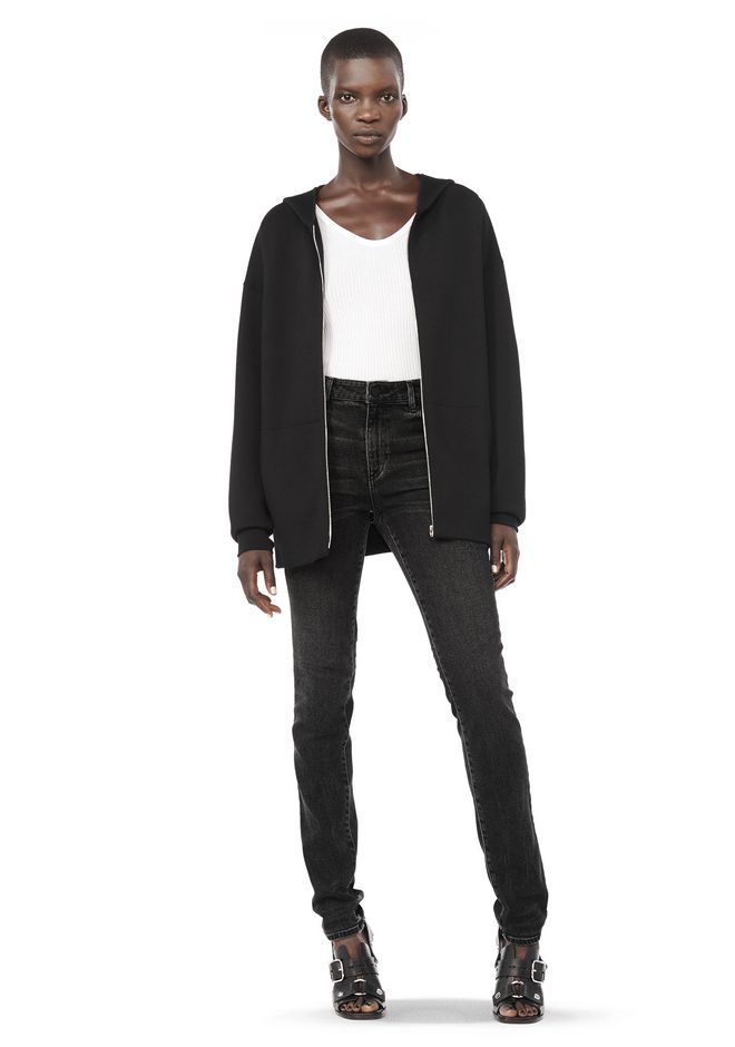 ALEXANDER WANG ZIP HOODIE WITH SEAMLESS POCKET JACKETS AND OUTERWEAR  Adult 12_n_f