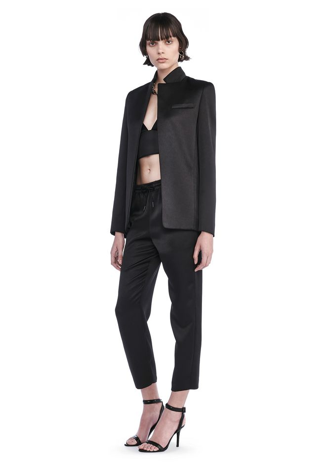 T by ALEXANDER WANG STRETCH SATIN COLLARUP OPEN BLAZER JACKETS AND  OUTERWEAR Adult 12_n_f ...