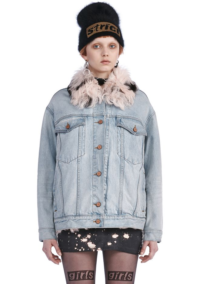Alexander Wang BOYFRIEND DENIM JACKET WITH FUR LINING JACKETS AND ...