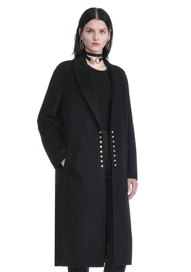 ALEXANDER WANG PEAK LAPEL LONG WOOLCOAT WITH SNAP CLOSURE DETAIL  JACKETS AND OUTERWEAR  Adult 12_n_a