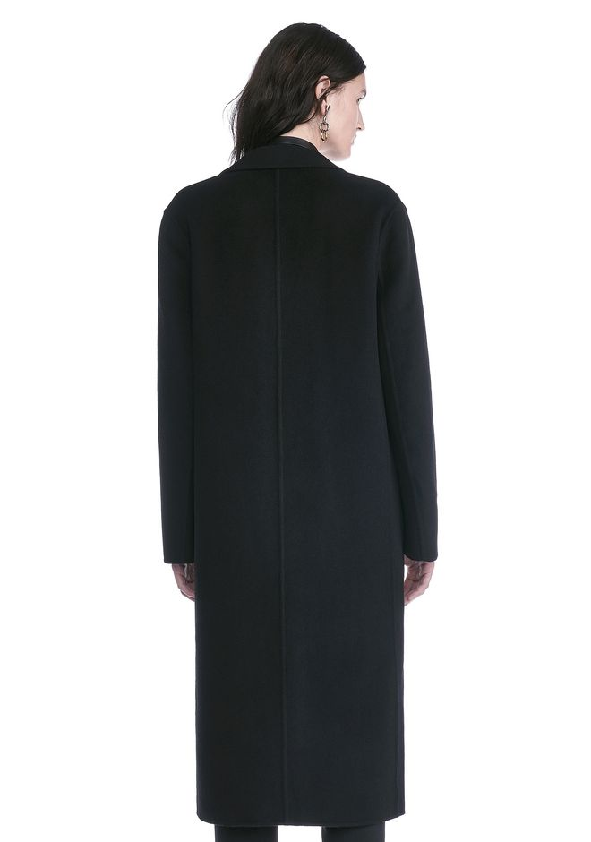 ALEXANDER WANG PEAK LAPEL LONG WOOLCOAT WITH SNAP CLOSURE DETAIL  JACKETS AND OUTERWEAR  Adult 12_n_d
