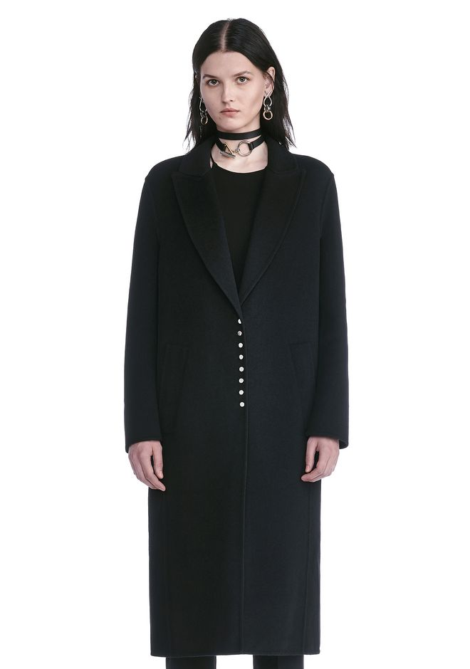 ALEXANDER WANG PEAK LAPEL LONG WOOLCOAT WITH SNAP CLOSURE DETAIL  JACKETS AND OUTERWEAR  Adult 12_n_e