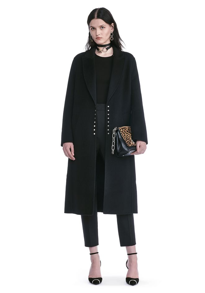 ALEXANDER WANG PEAK LAPEL LONG WOOLCOAT WITH SNAP CLOSURE DETAIL  JACKETS AND OUTERWEAR  Adult 12_n_f