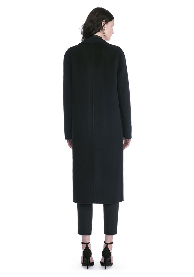 ALEXANDER WANG PEAK LAPEL LONG WOOLCOAT WITH SNAP CLOSURE DETAIL  JACKETS AND OUTERWEAR  Adult 12_n_r