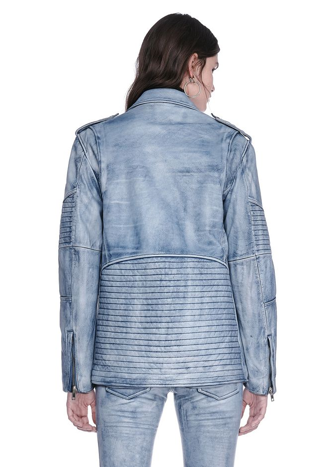 ALEXANDER WANG CLASSIC DENIM LEATHER BIKER JACKET  JACKETS AND OUTERWEAR  Adult 12_n_d