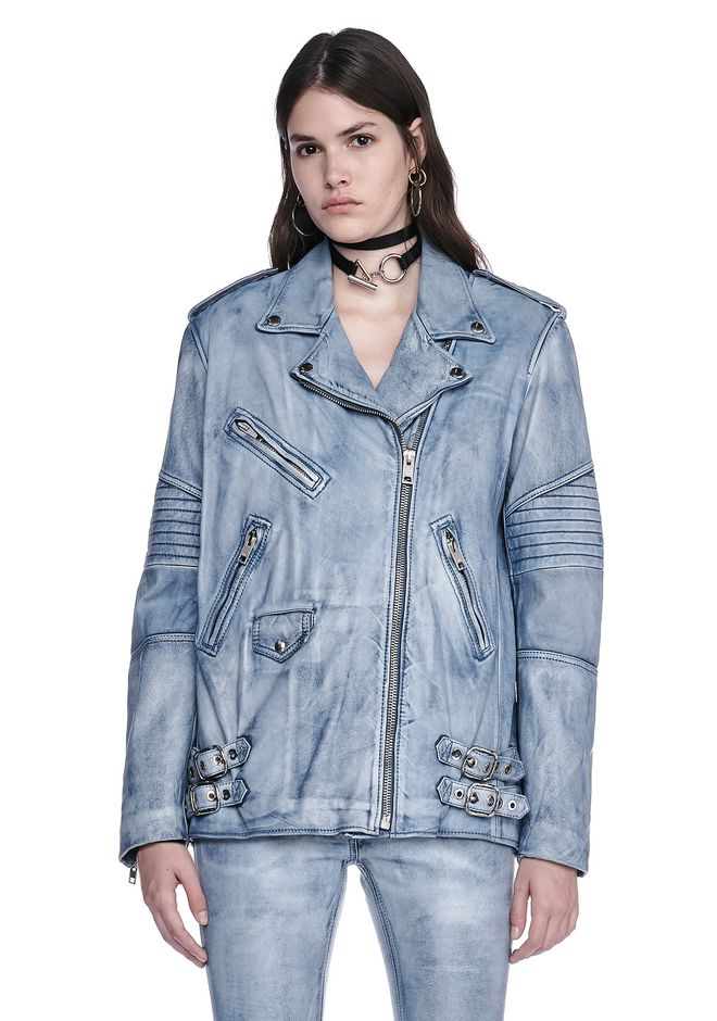 ALEXANDER WANG CLASSIC DENIM LEATHER BIKER JACKET  JACKETS AND OUTERWEAR  Adult 12_n_e