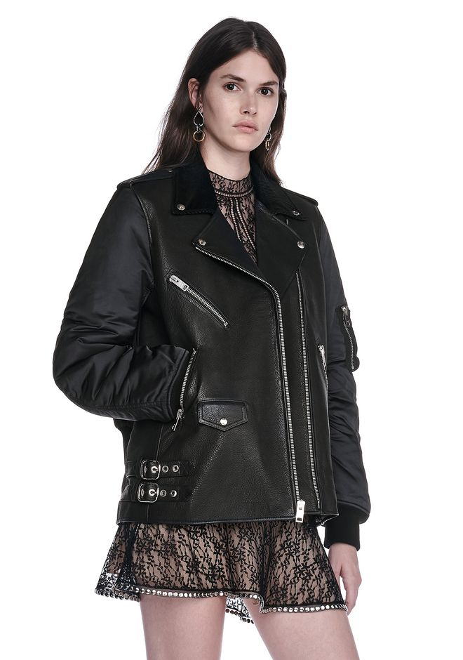 ALEXANDER WANG HYBRID MOTO BOMBER JACKET  JACKETS AND OUTERWEAR  Adult 12_n_a