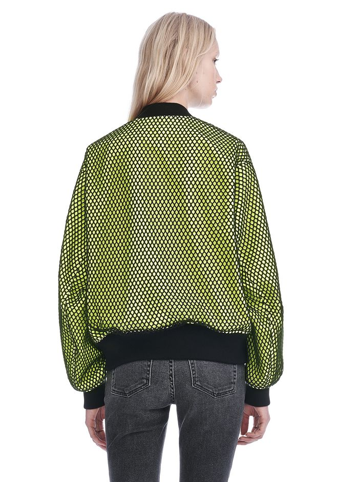 ALEXANDER WANG NEON BOMBER JACKET WITH MESH OVERLAY JACKETS AND OUTERWEAR  Adult 12_n_d