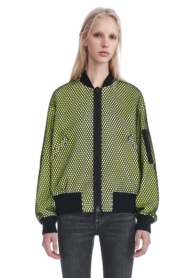 ALEXANDER WANG NEON BOMBER JACKET WITH MESH OVERLAY JACKETS AND OUTERWEAR  Adult 12_n_e