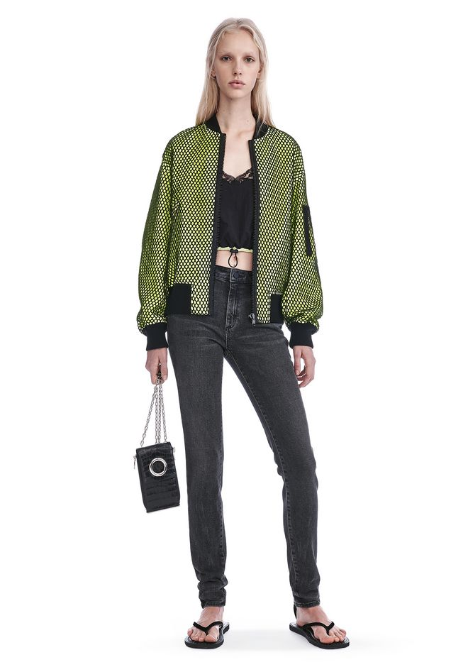 ALEXANDER WANG NEON BOMBER JACKET WITH MESH OVERLAY JACKETS AND OUTERWEAR  Adult 12_n_f