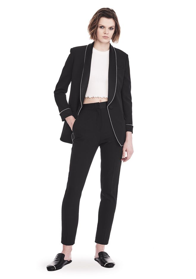 ALEXANDER WANG slrtwot TUXEDO BLAZER WITH BALL CHAIN TRIM