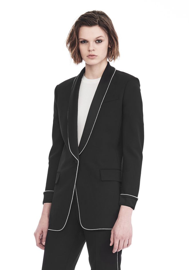 ALEXANDER WANG TUXEDO BLAZER WITH BALL CHAIN TRIM JACKETS AND OUTERWEAR  Adult 12_n_a