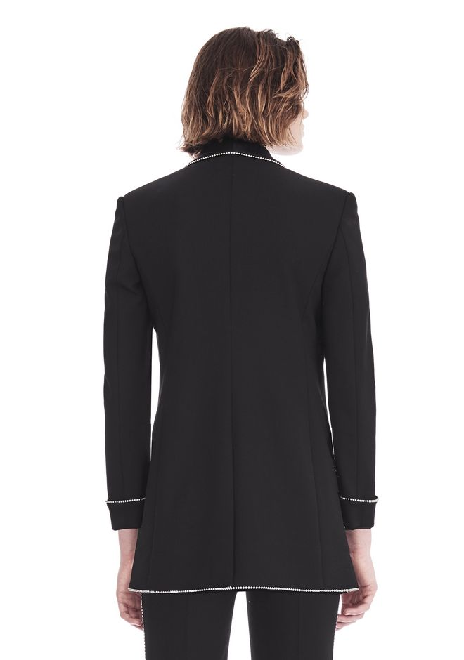 ALEXANDER WANG TUXEDO BLAZER WITH BALL CHAIN TRIM JACKETS AND OUTERWEAR  Adult 12_n_d