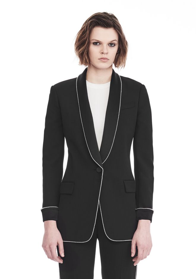 ALEXANDER WANG TUXEDO BLAZER WITH BALL CHAIN TRIM JACKETS AND OUTERWEAR  Adult 12_n_e