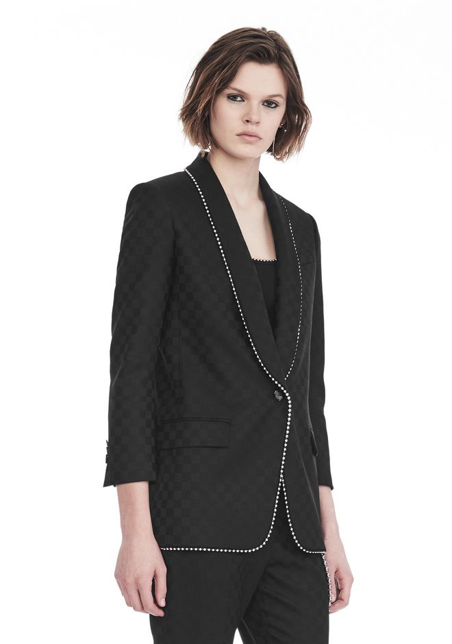 ALEXANDER WANG SHAWL COLLAR BLAZER WITH BALL CHAIN TRIM JACKETS AND OUTERWEAR  Adult 12_n_a