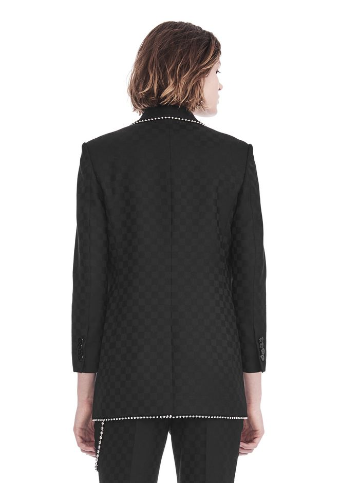 ALEXANDER WANG SHAWL COLLAR BLAZER WITH BALL CHAIN TRIM JACKETS AND OUTERWEAR  Adult 12_n_d