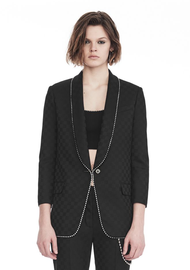 ALEXANDER WANG SHAWL COLLAR BLAZER WITH BALL CHAIN TRIM JACKETS AND OUTERWEAR  Adult 12_n_e