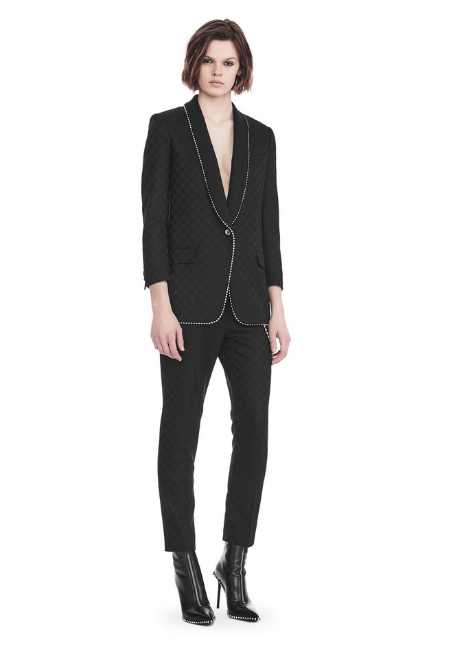 ALEXANDER WANG SHAWL COLLAR BLAZER WITH BALL CHAIN TRIM JACKETS AND OUTERWEAR  Adult 12_n_f
