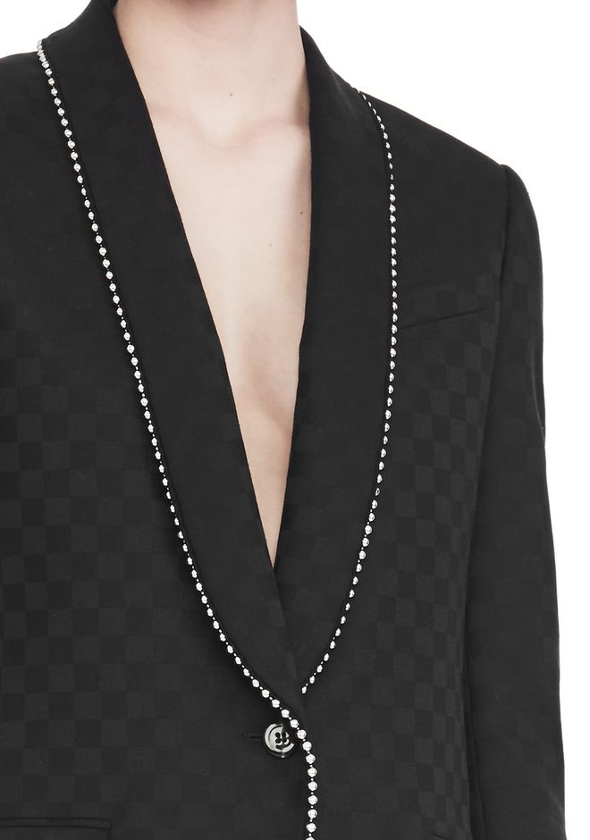 ALEXANDER WANG SHAWL COLLAR BLAZER WITH BALL CHAIN TRIM JACKETS AND OUTERWEAR  Adult 12_n_r