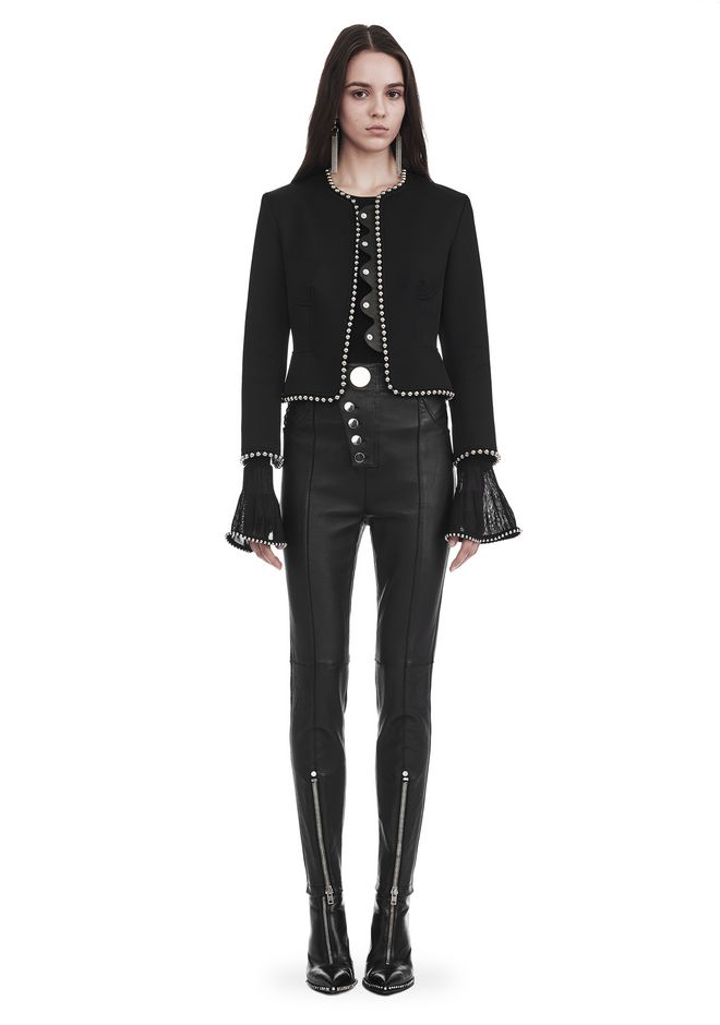ALEXANDER WANG nwarclltsw CROPPED PEPLUM JACKET WITH BALL CHAIN TRIM