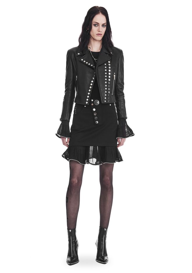 ALEXANDER WANG slrtwot CROPPED SLEEVE MOTO JACKET WITH DOUBLE SNAP FRONT