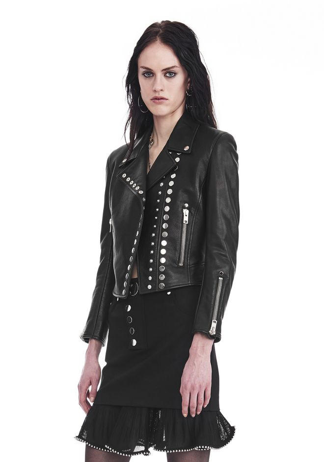 ALEXANDER WANG CROPPED SLEEVE MOTO JACKET WITH DOUBLE SNAP FRONT JACKETS AND OUTERWEAR  Adult 12_n_a