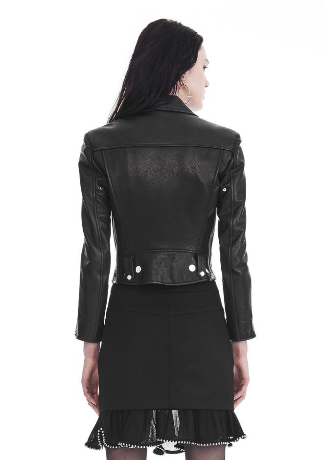 ALEXANDER WANG CROPPED SLEEVE MOTO JACKET WITH DOUBLE SNAP FRONT JACKETS AND OUTERWEAR  Adult 12_n_d