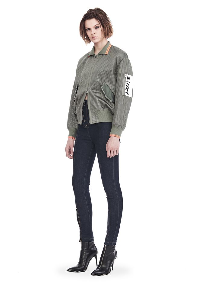 ALEXANDER WANG JACKETS AND OUTERWEAR  Women EXCLUSIVE MESH BOMBER JACKET WITH IRREGULAR PIERCINGS