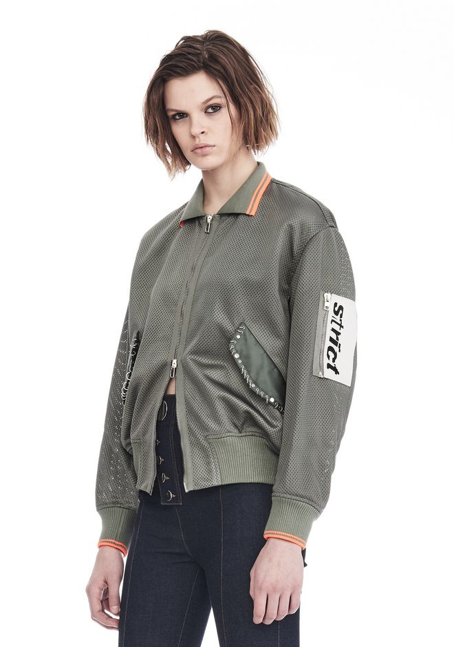 ALEXANDER WANG EXCLUSIVE MESH BOMBER JACKET WITH IRREGULAR PIERCINGS 夹克及外套 Adult 12_n_a