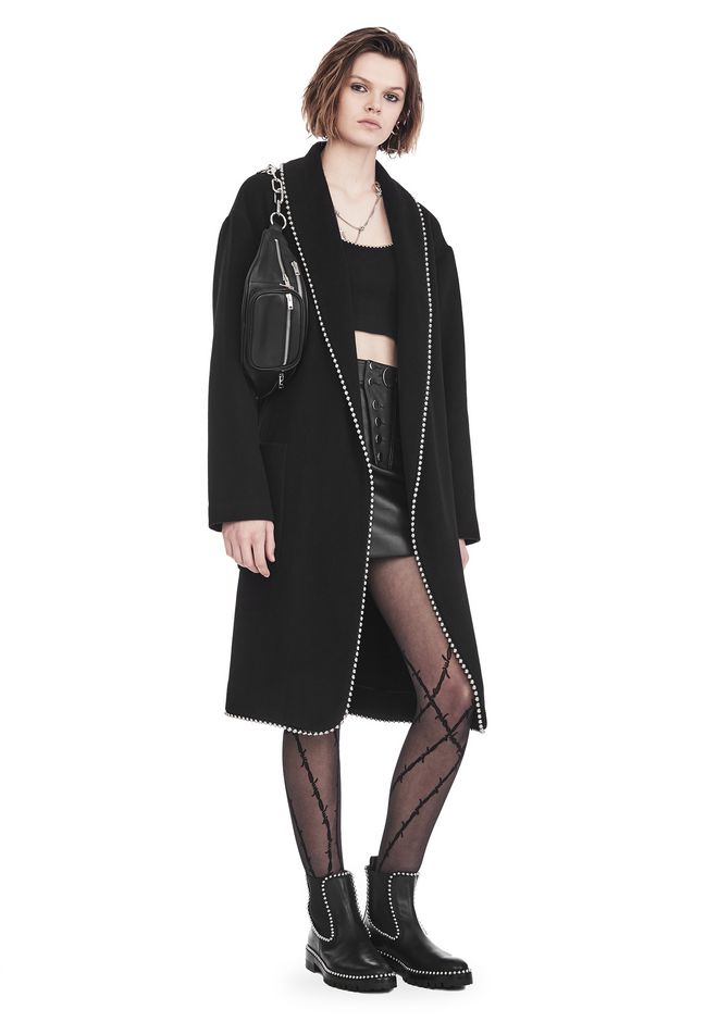 ALEXANDER WANG JACKEN & OUTERWEAR  Für-sie BATHROBE COAT WITH BALL CHAIN TRIM