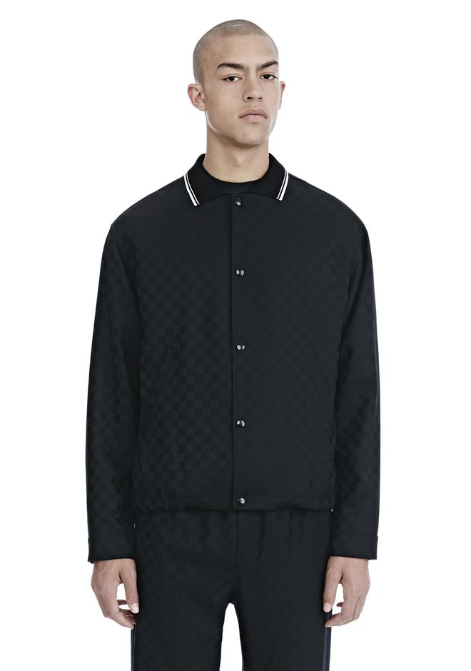 ALEXANDER WANG CHECKERBOARD WOOL JACQUARD COACH'S JACKET JACKETS AND OUTERWEAR  Adult 12_n_e