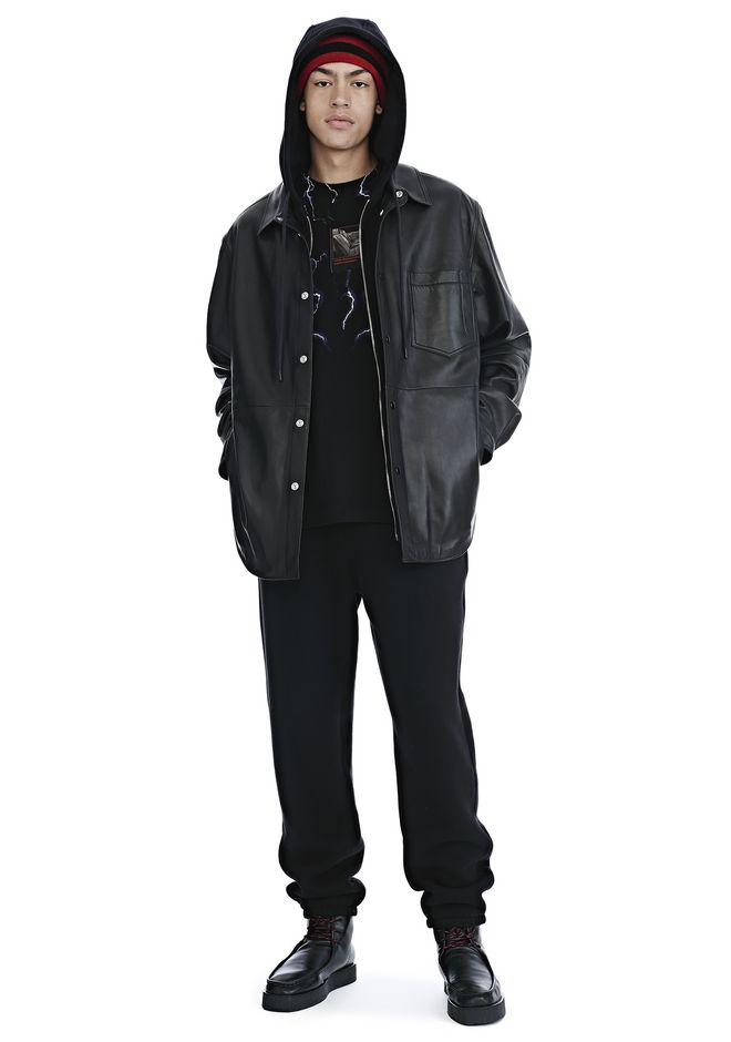 ALEXANDER WANG mens-new-apparel LEATHER COMBO HOODED SHIRT