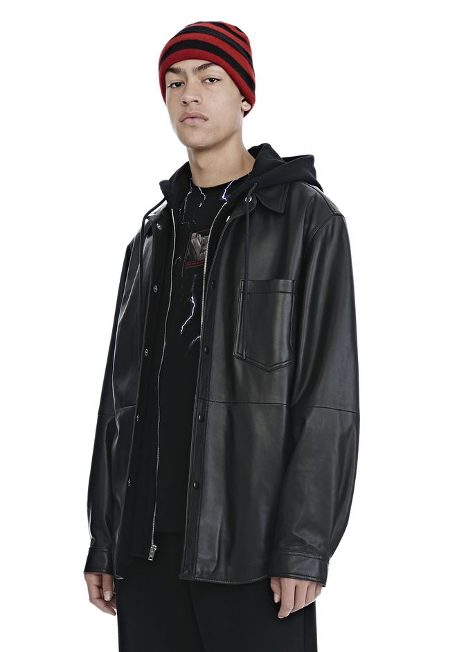 ALEXANDER WANG LEATHER COMBO HOODED SHIRT JACKEN & OUTERWEAR  Adult 12_n_a