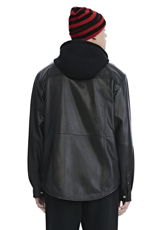 ALEXANDER WANG LEATHER COMBO HOODED SHIRT JACKEN & OUTERWEAR  Adult 12_n_d