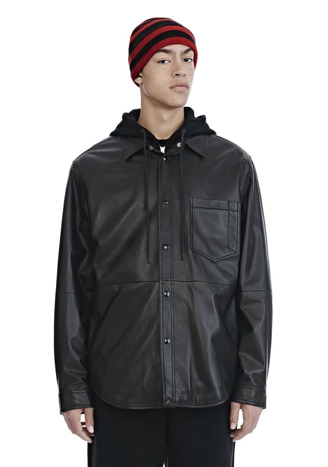 ALEXANDER WANG LEATHER COMBO HOODED SHIRT JACKEN & OUTERWEAR  Adult 12_n_e