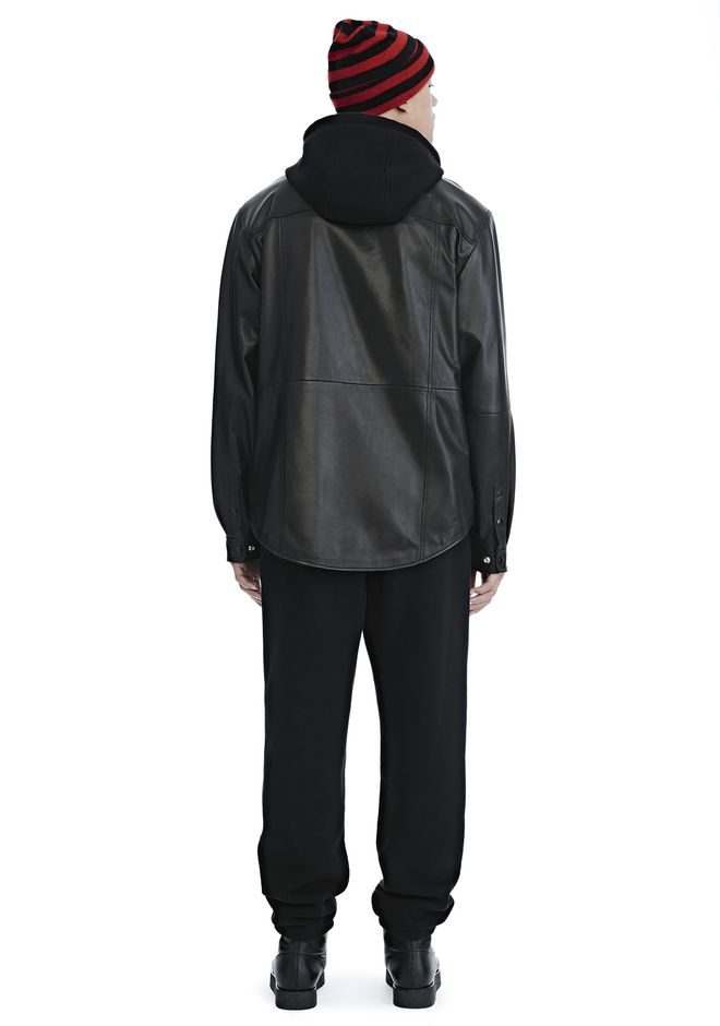 ALEXANDER WANG LEATHER COMBO HOODED SHIRT JACKEN & OUTERWEAR  Adult 12_n_r