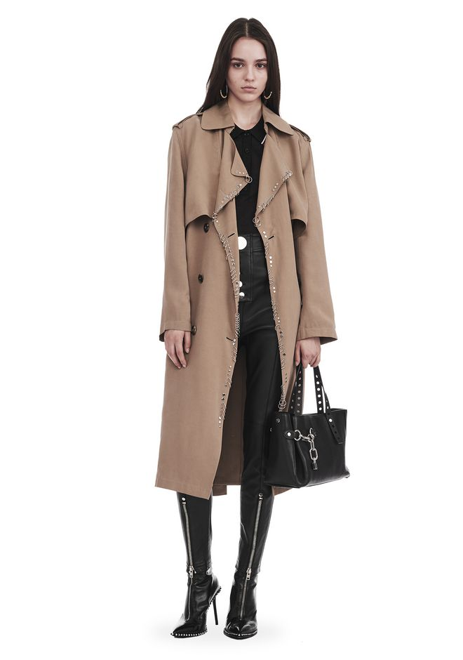 ALEXANDER WANG slrtwot SLOUCHY TRENCH WITH IRREGULAR PIERCINGS