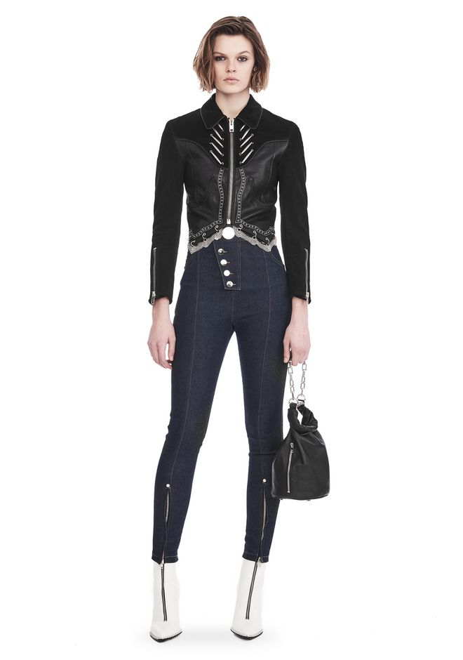ALEXANDER WANG JACKETS AND OUTERWEAR  Women SHRUNKEN WESTERN JACKET WITH SCALLOP CHAIN HEM