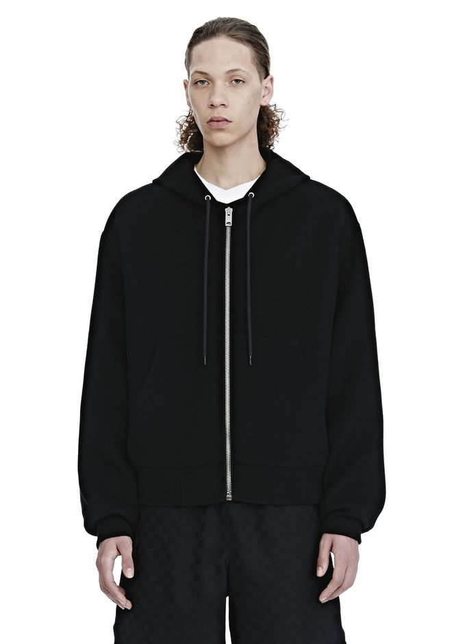 ALEXANDER WANG SPLITTABLE BRUSHED WOOL HOODIE JACKETS AND OUTERWEAR  Adult 12_n_e